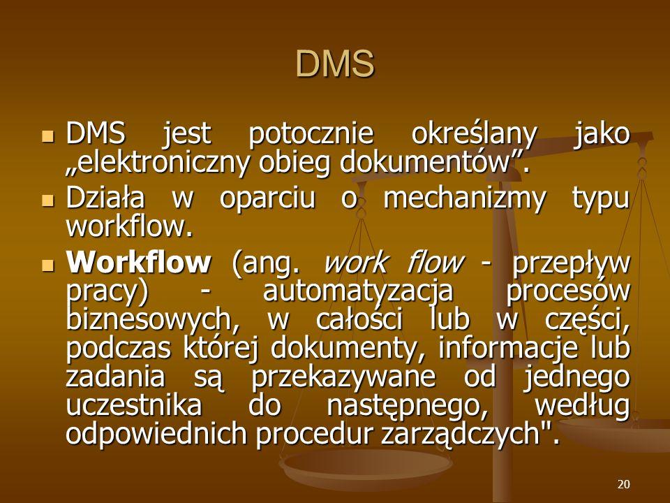20 DMS DMS jest potocznie określany jako elektroniczny obieg dokumentów. DMS jest potocznie określany jako elektroniczny obieg dokumentów. Działa w op