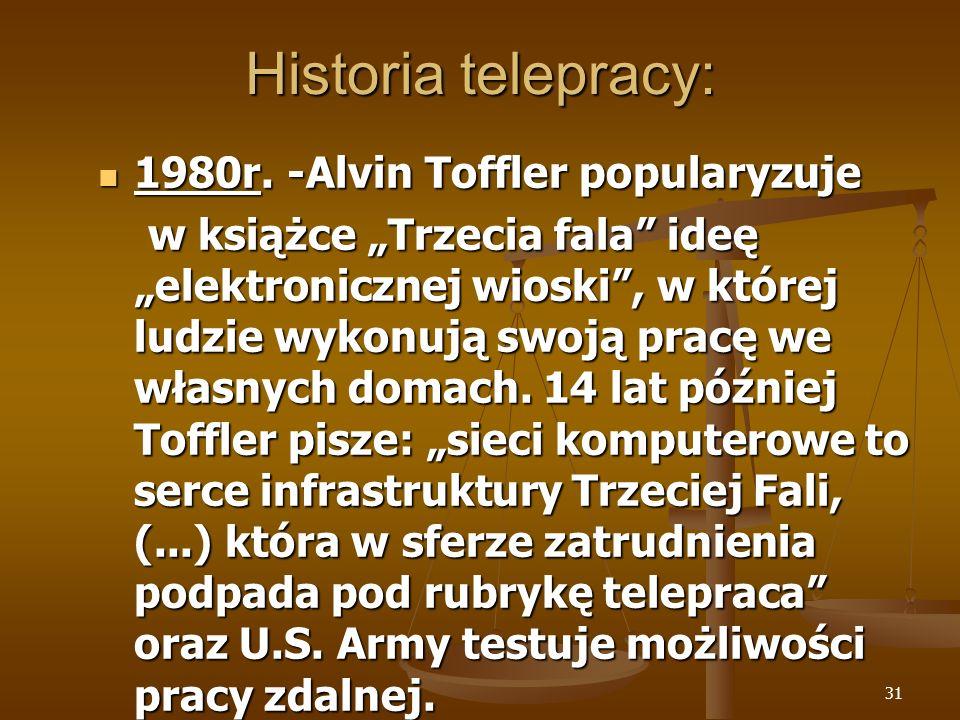 31 Historia telepracy: 1980r. -Alvin Toffler popularyzuje 1980r. -Alvin Toffler popularyzuje w książce Trzecia fala ideę elektronicznej wioski, w któr
