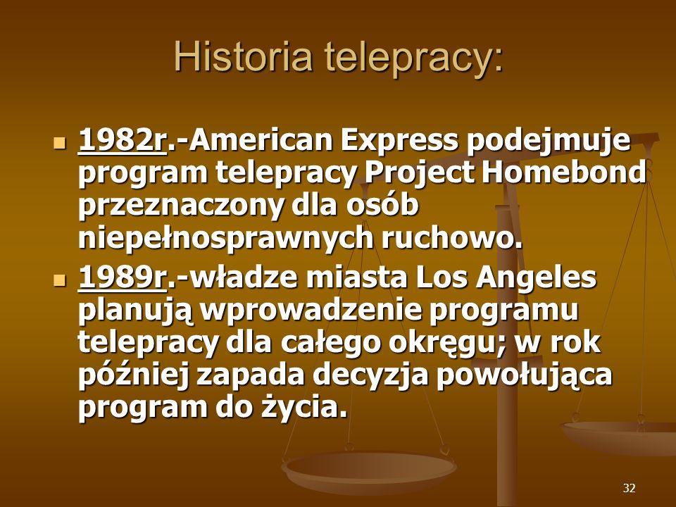 32 Historia telepracy: 1982r.-American Express podejmuje program telepracy Project Homebond przeznaczony dla osób niepełnosprawnych ruchowo. 1982r.-Am