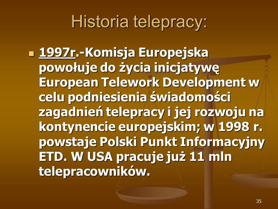 35 Historia telepracy: 1997r.-Komisja Europejska powołuje do życia inicjatywę European Telework Development w celu podniesienia świadomości zagadnień telepracy i jej rozwoju na kontynencie europejskim; w 1998 r.
