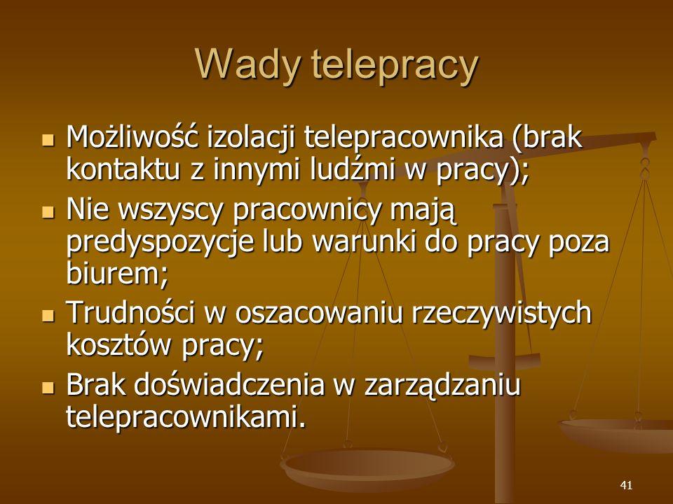 41 Wady telepracy Możliwość izolacji telepracownika (brak kontaktu z innymi ludźmi w pracy); Możliwość izolacji telepracownika (brak kontaktu z innymi