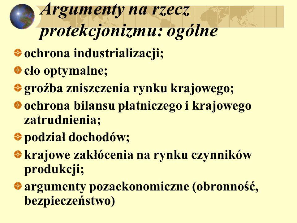 Argumenty na rzecz protekcjonizmu: ogólne ochrona industrializacji; cło optymalne; groźba zniszczenia rynku krajowego; ochrona bilansu płatniczego i k