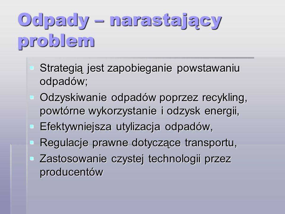 Odpady – narastający problem Strategią jest zapobieganie powstawaniu odpadów; Strategią jest zapobieganie powstawaniu odpadów; Odzyskiwanie odpadów po