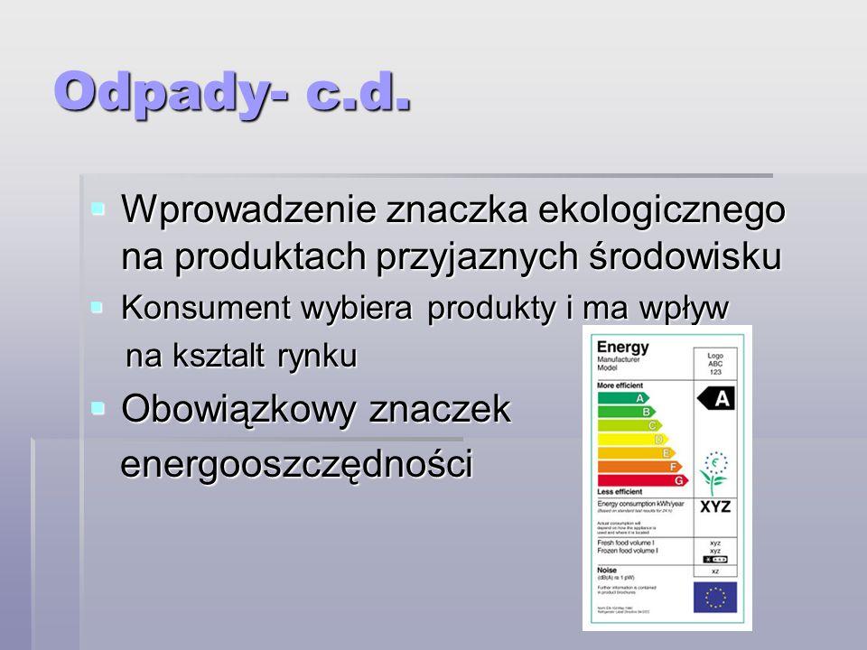 Odpady- c.d. Wprowadzenie znaczka ekologicznego na produktach przyjaznych środowisku Wprowadzenie znaczka ekologicznego na produktach przyjaznych środ