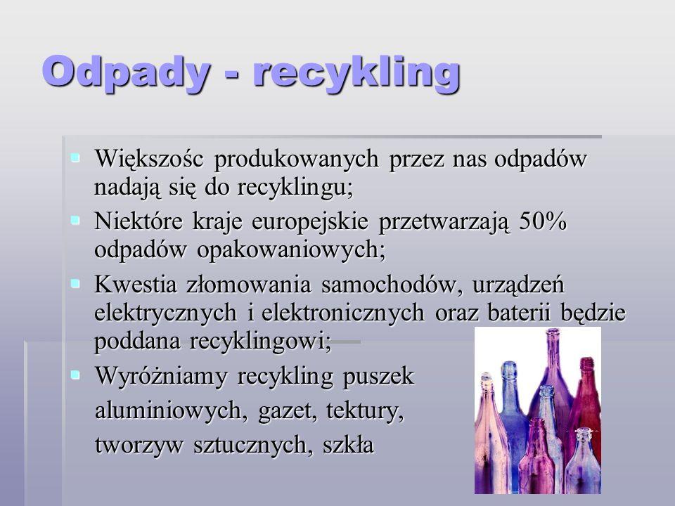 Odpady - recykling Większośc produkowanych przez nas odpadów nadają się do recyklingu; Większośc produkowanych przez nas odpadów nadają się do recykli