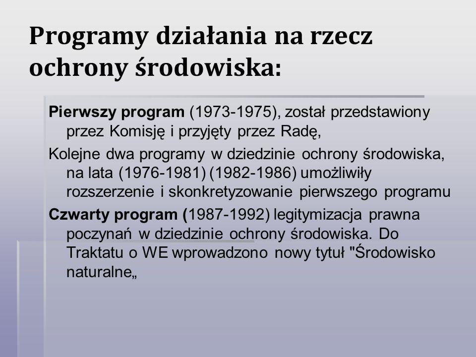 Programy działania na rzecz ochrony środowiska: Pierwszy program (1973-1975), został przedstawiony przez Komisję i przyjęty przez Radę, Kolejne dwa pr