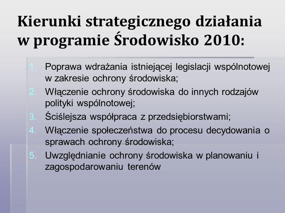 Kierunki strategicznego działania w programie Środowisko 2010: 1. 1.Poprawa wdrażania istniejącej legislacji wspólnotowej w zakresie ochrony środowisk