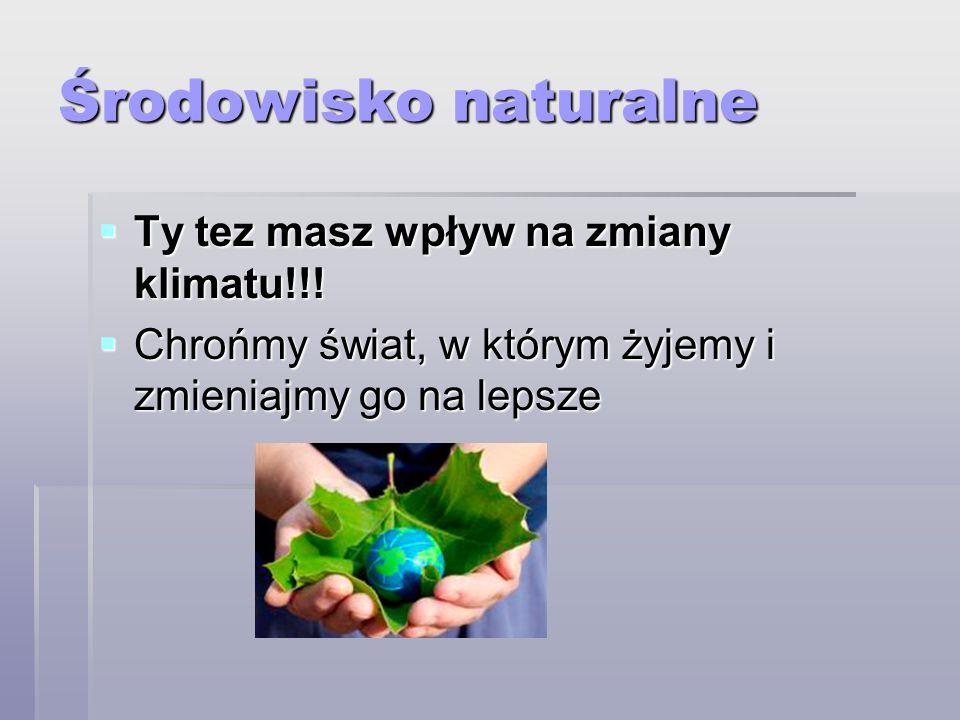 Środowisko naturalne c.d.Priorytetem Unii Europejskiej w dziedzinie ochrony środowiska jest m.in.