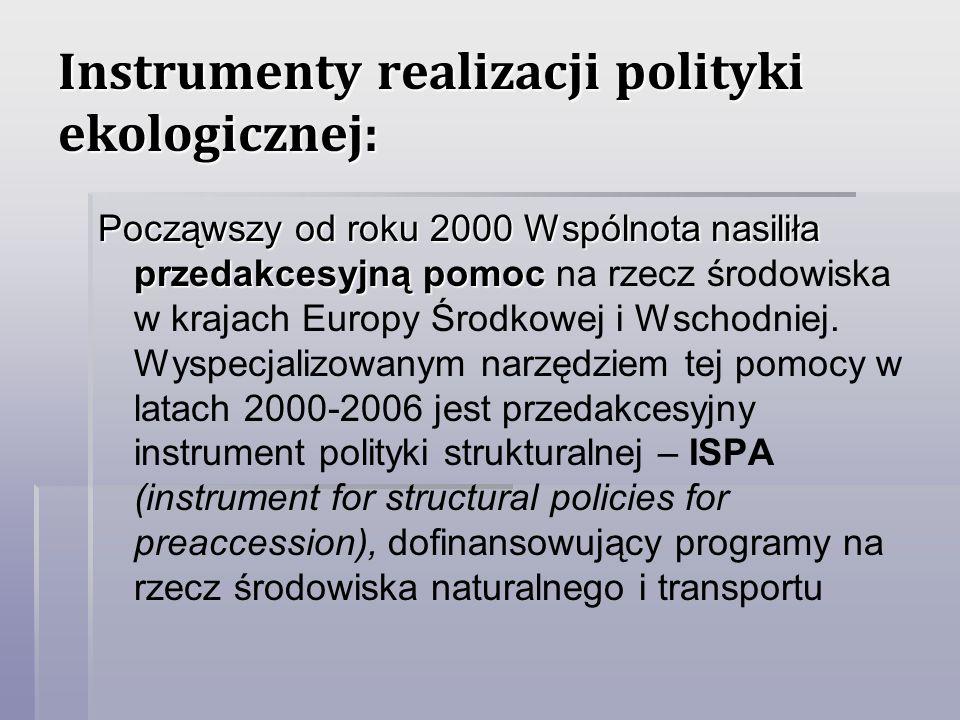 Instrumenty realizacji polityki ekologicznej: Począwszy od roku 2000 Wspólnota nasiliła przedakcesyjną pomoc Począwszy od roku 2000 Wspólnota nasiliła