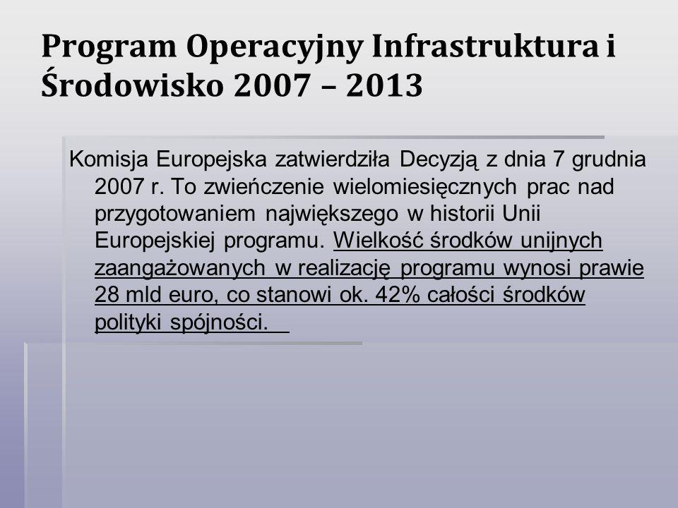 Program Operacyjny Infrastruktura i Środowisko 2007 – 2013 Komisja Europejska zatwierdziła Decyzją z dnia 7 grudnia 2007 r. To zwieńczenie wielomiesię