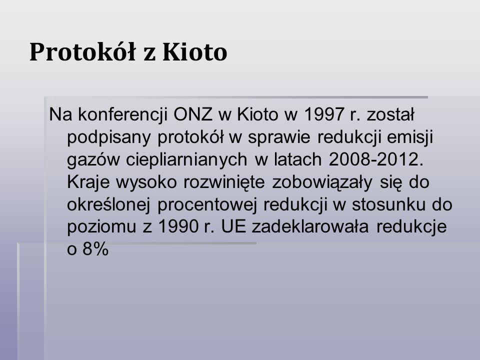 Protokół z Kioto Na konferencji ONZ w Kioto w 1997 r. został podpisany protokół w sprawie redukcji emisji gazów ciepliarnianych w latach 2008-2012. Kr