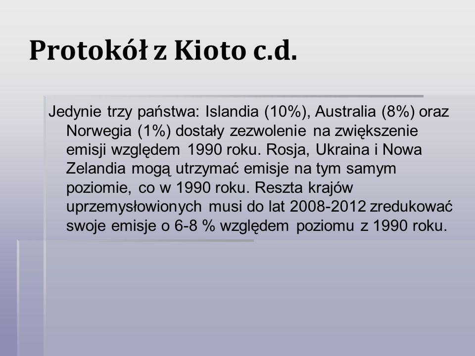 Protokół z Kioto c.d. Jedynie trzy państwa: Islandia (10%), Australia (8%) oraz Norwegia (1%) dostały zezwolenie na zwiększenie emisji względem 1990 r