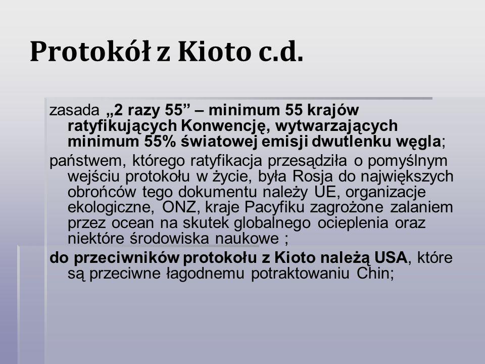 Protokół z Kioto c.d. zasada 2 razy 55 – minimum 55 krajów ratyfikujących Konwencję, wytwarzających minimum 55% światowej emisji dwutlenku węgla; pańs
