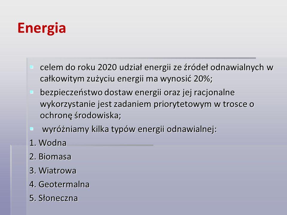 Energia celem do roku 2020 udział energii ze źródeł odnawialnych w całkowitym zużyciu energii ma wynosić 20%; celem do roku 2020 udział energii ze źró