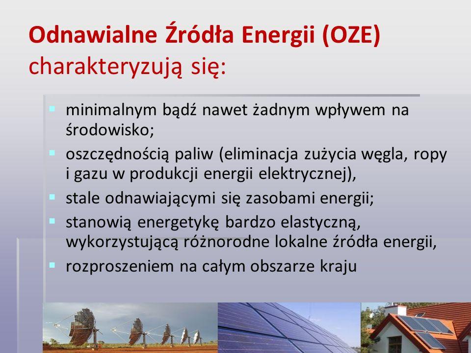 Odnawialne Źródła Energii (OZE) charakteryzują się: minimalnym bądź nawet żadnym wpływem na środowisko; oszczędnością paliw (eliminacja zużycia węgla,