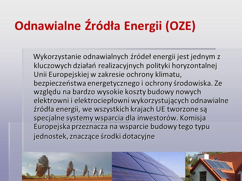Odnawialne Źródła Energii (OZE) Wykorzystanie odnawialnych źródeł energii jest jednym z kluczowych działań realizacyjnych polityki horyzontalnej Unii