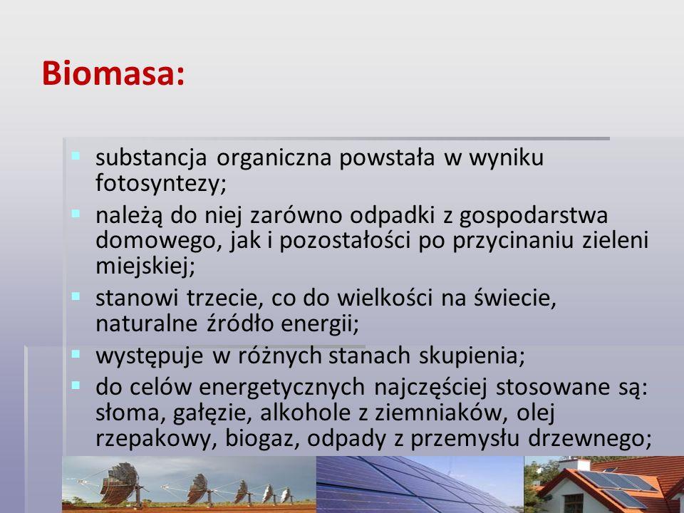 Biomasa: substancja organiczna powstała w wyniku fotosyntezy; należą do niej zarówno odpadki z gospodarstwa domowego, jak i pozostałości po przycinani