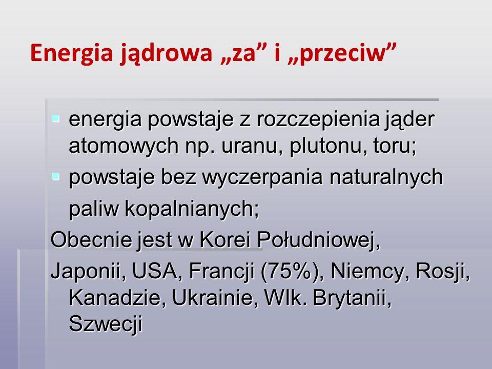 Energia jądrowa za i przeciw energia powstaje z rozczepienia jąder atomowych np. uranu, plutonu, toru; energia powstaje z rozczepienia jąder atomowych