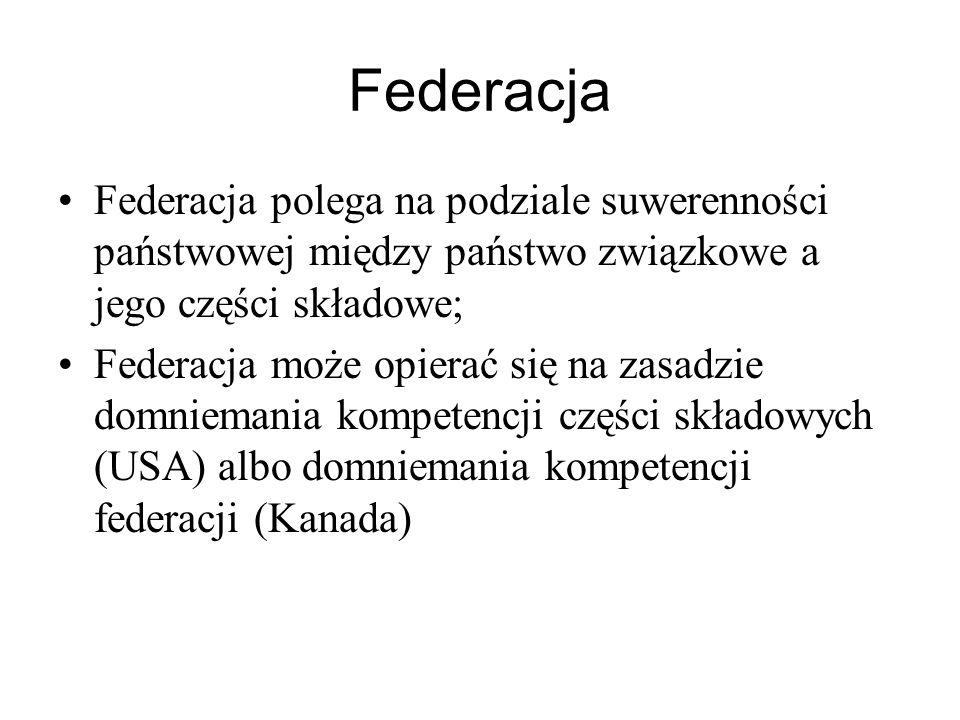 Federacja Federacja polega na podziale suwerenności państwowej między państwo związkowe a jego części składowe; Federacja może opierać się na zasadzie domniemania kompetencji części składowych (USA) albo domniemania kompetencji federacji (Kanada)