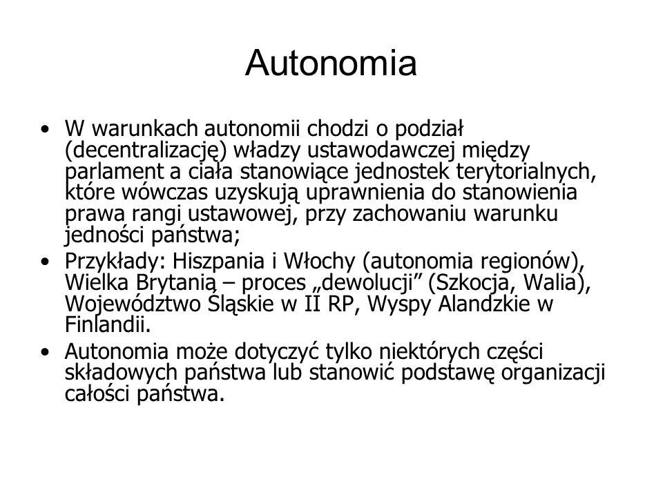 Autonomia W warunkach autonomii chodzi o podział (decentralizację) władzy ustawodawczej między parlament a ciała stanowiące jednostek terytorialnych,