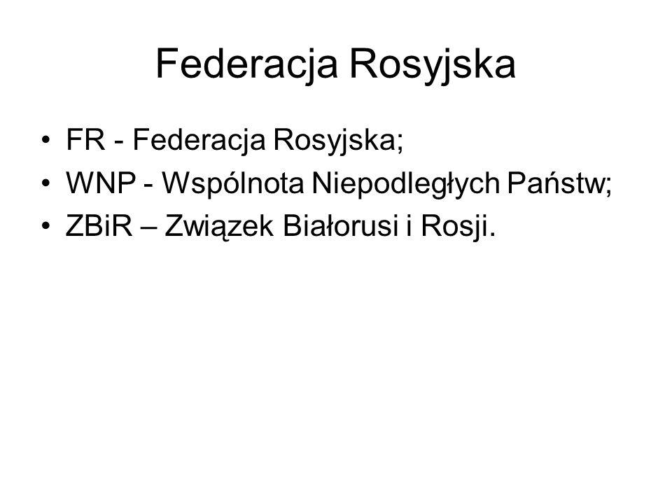 Federacja Rosyjska FR - Federacja Rosyjska; WNP - Wspólnota Niepodległych Państw; ZBiR – Związek Białorusi i Rosji.