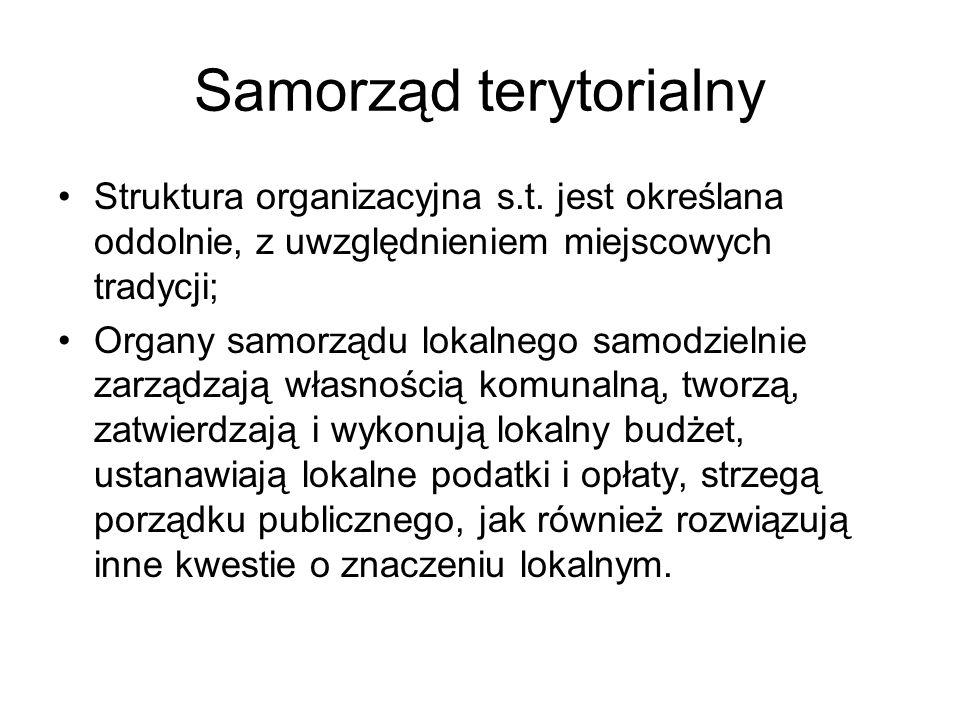 Samorząd terytorialny Struktura organizacyjna s.t. jest określana oddolnie, z uwzględnieniem miejscowych tradycji; Organy samorządu lokalnego samodzie