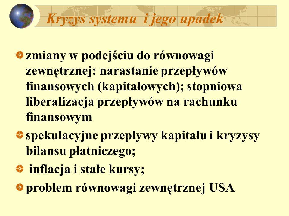 Kryzys systemu i jego upadek zmiany w podejściu do równowagi zewnętrznej: narastanie przepływów finansowych (kapitałowych); stopniowa liberalizacja pr