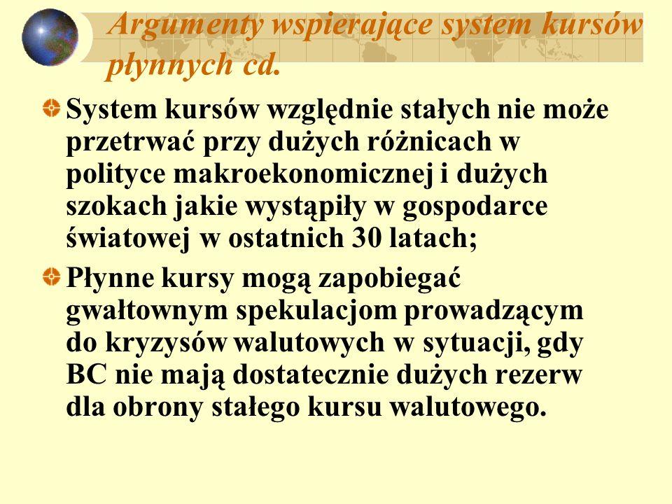 Argumenty wspierające system kursów płynnych cd. System kursów względnie stałych nie może przetrwać przy dużych różnicach w polityce makroekonomicznej