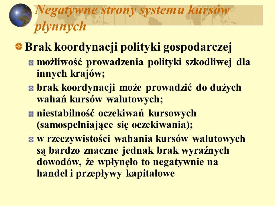 Negatywne strony systemu kursów płynnych Brak koordynacji polityki gospodarczej możliwość prowadzenia polityki szkodliwej dla innych krajów; brak koor