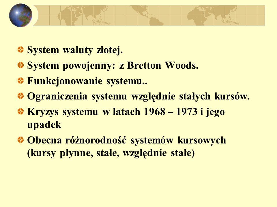 System waluty złotej. System powojenny: z Bretton Woods. Funkcjonowanie systemu.. Ograniczenia systemu względnie stałych kursów. Kryzys systemu w lata