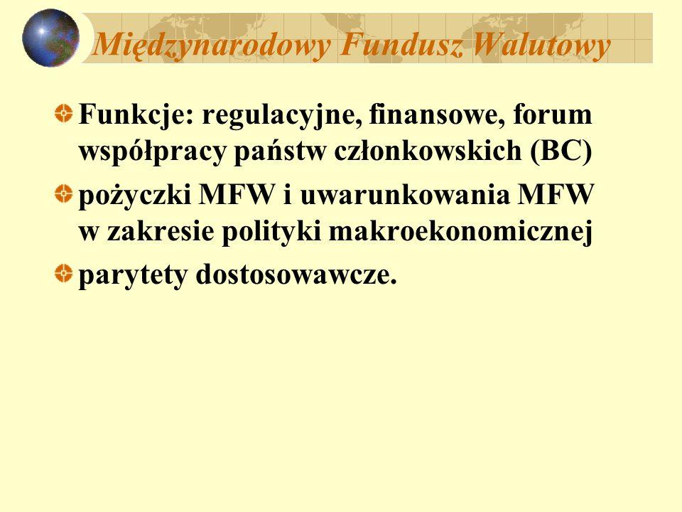 Międzynarodowy Fundusz Walutowy Funkcje: regulacyjne, finansowe, forum współpracy państw członkowskich (BC) pożyczki MFW i uwarunkowania MFW w zakresie polityki makroekonomicznej parytety dostosowawcze.