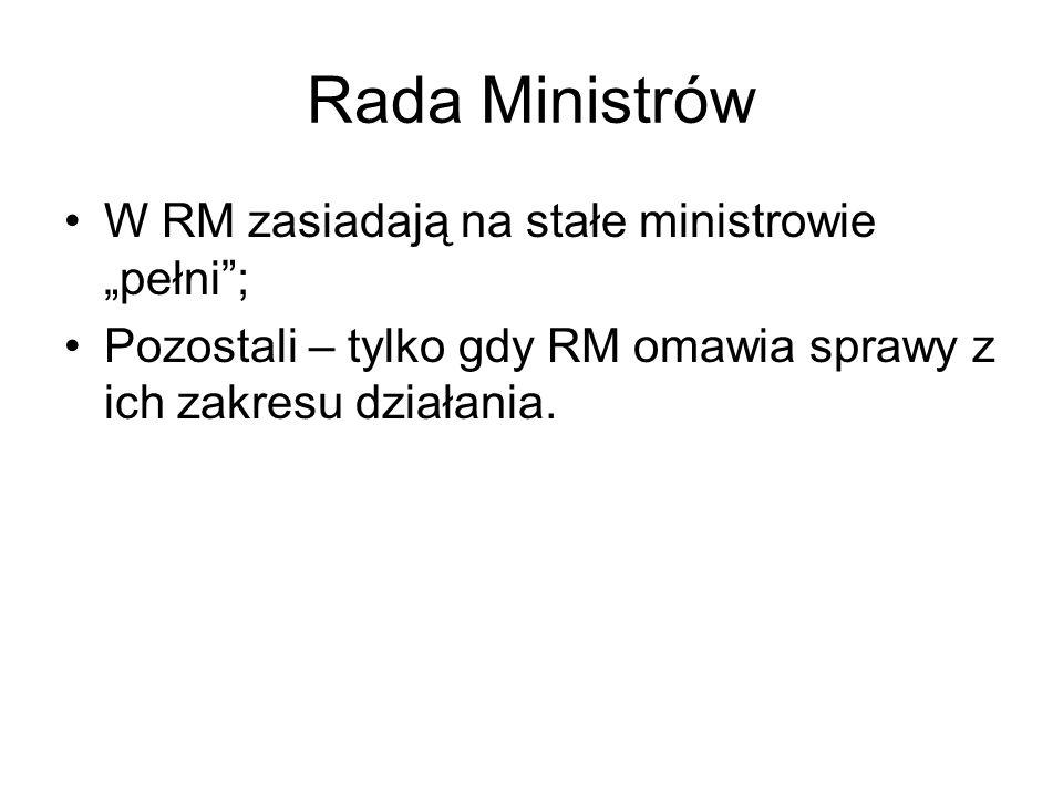 Rada Ministrów W RM zasiadają na stałe ministrowie pełni; Pozostali – tylko gdy RM omawia sprawy z ich zakresu działania.