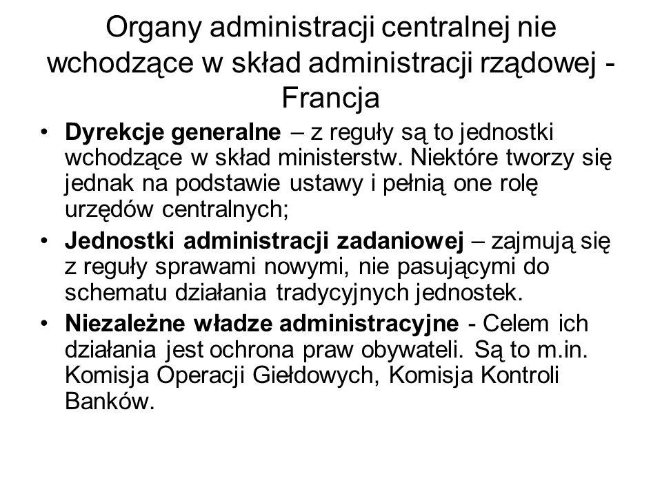 Organy administracji centralnej nie wchodzące w skład administracji rządowej - Francja Dyrekcje generalne – z reguły są to jednostki wchodzące w skład