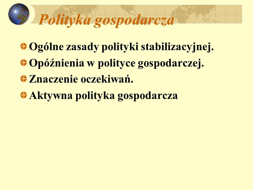 Polityka gospodarcza Ogólne zasady polityki stabilizacyjnej. Opóźnienia w polityce gospodarczej. Znaczenie oczekiwań. Aktywna polityka gospodarcza