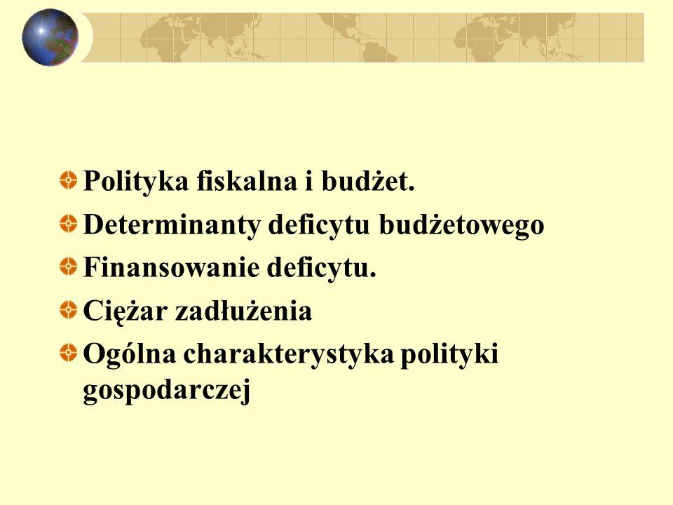 Polityka fiskalna i budżet. Determinanty deficytu budżetowego Finansowanie deficytu. Ciężar zadłużenia Ogólna charakterystyka polityki gospodarczej