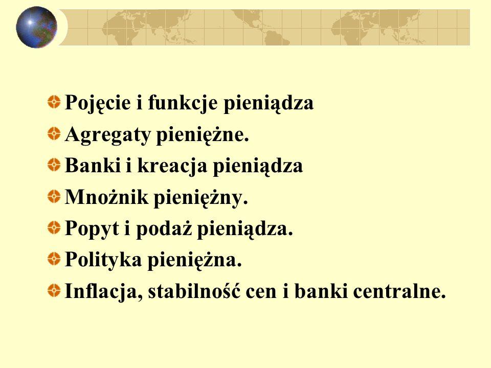 Pojęcie i funkcje pieniądza Agregaty pieniężne. Banki i kreacja pieniądza Mnożnik pieniężny. Popyt i podaż pieniądza. Polityka pieniężna. Inflacja, st