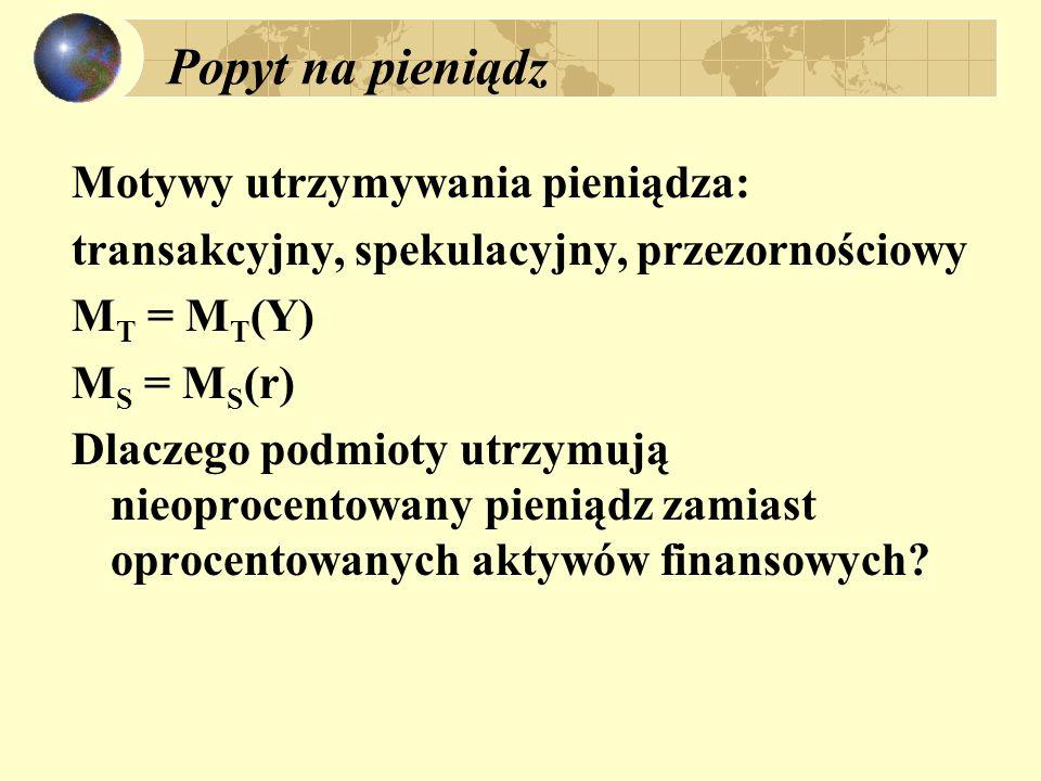 Popyt na pieniądz Motywy utrzymywania pieniądza: transakcyjny, spekulacyjny, przezornościowy M T = M T (Y) M S = M S (r) Dlaczego podmioty utrzymują n