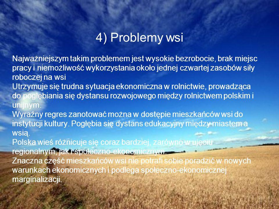 4) Problemy wsi Najważniejszym takim problemem jest wysokie bezrobocie, brak miejsc pracy i niemożliwość wykorzystania około jednej czwartej zasobów s