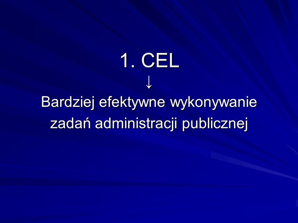 1. CEL Bardziej efektywne wykonywanie zadań administracji publicznej