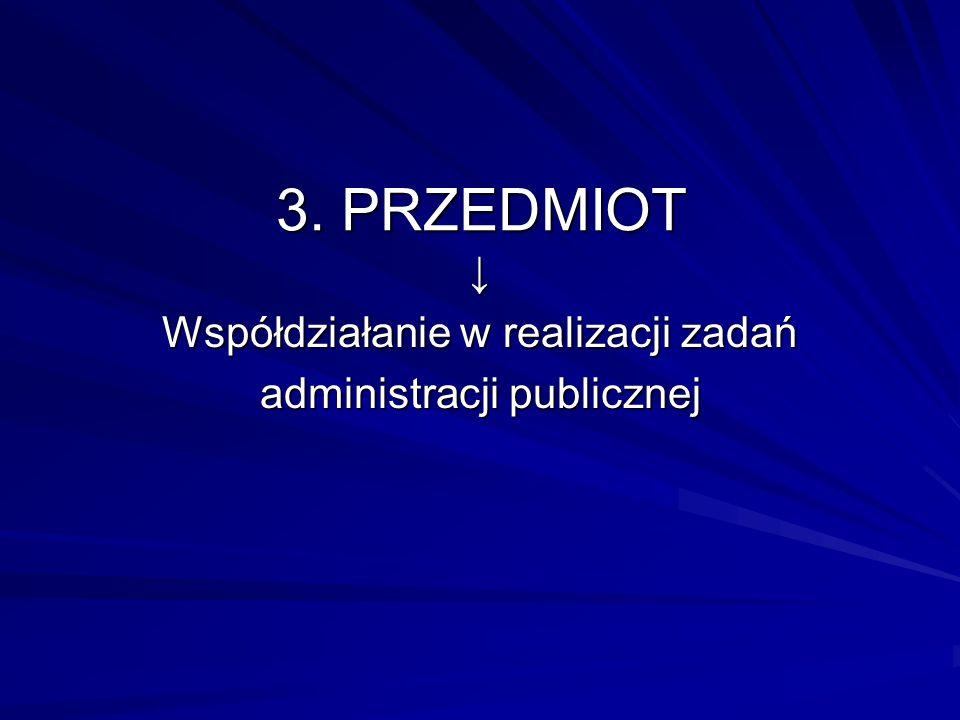 3. PRZEDMIOT Współdziałanie w realizacji zadań administracji publicznej