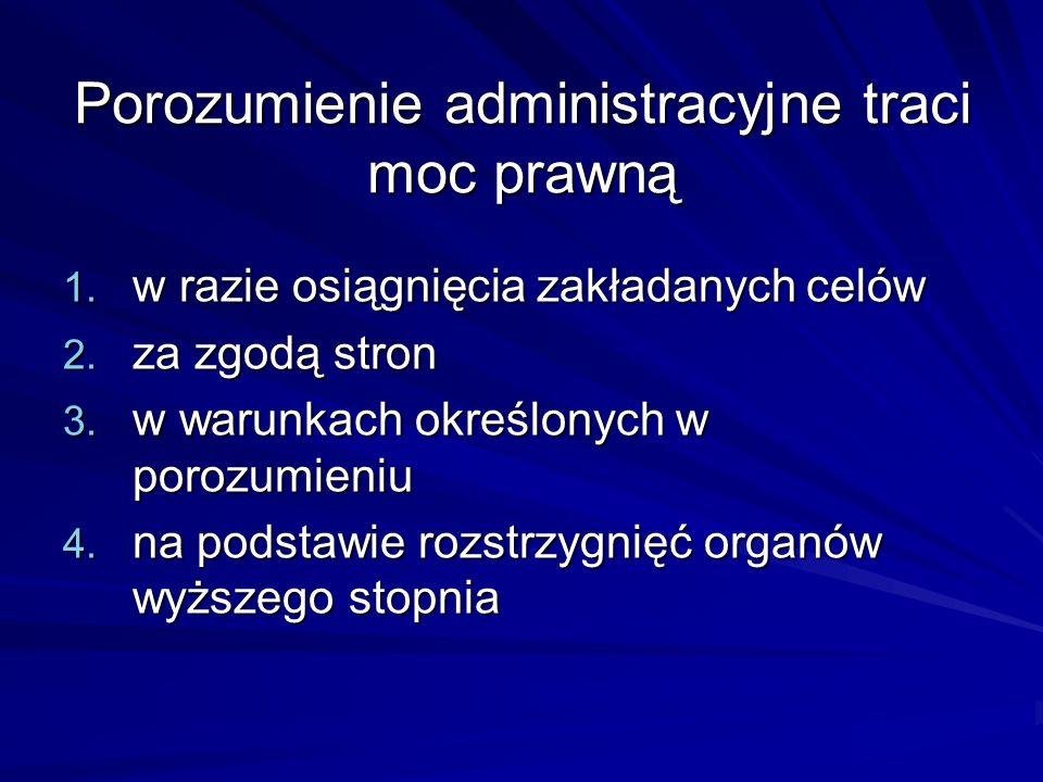 Porozumienie administracyjne traci moc prawną 1. w razie osiągnięcia zakładanych celów 2. za zgodą stron 3. w warunkach określonych w porozumieniu 4.