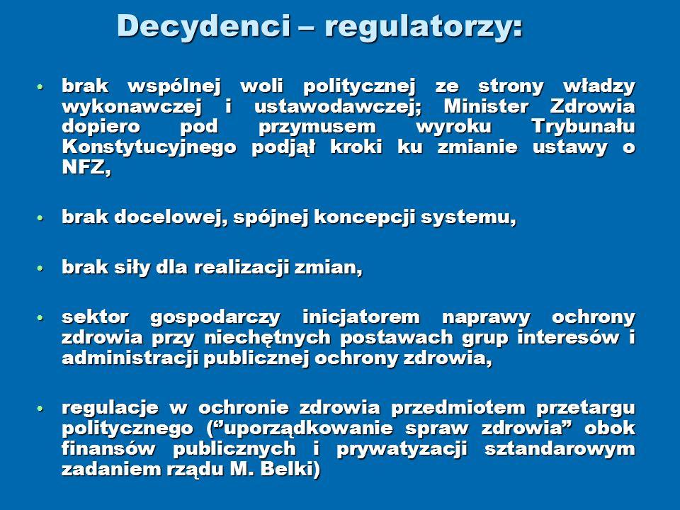 Decydenci – regulatorzy: brak wspólnej woli politycznej ze strony władzy wykonawczej i ustawodawczej; Minister Zdrowia dopiero pod przymusem wyroku Tr
