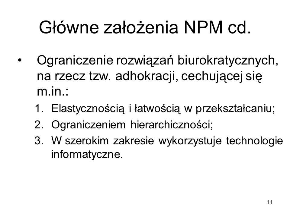 11 Główne założenia NPM cd. Ograniczenie rozwiązań biurokratycznych, na rzecz tzw. adhokracji, cechującej się m.in.: 1.Elastycznością i łatwością w pr