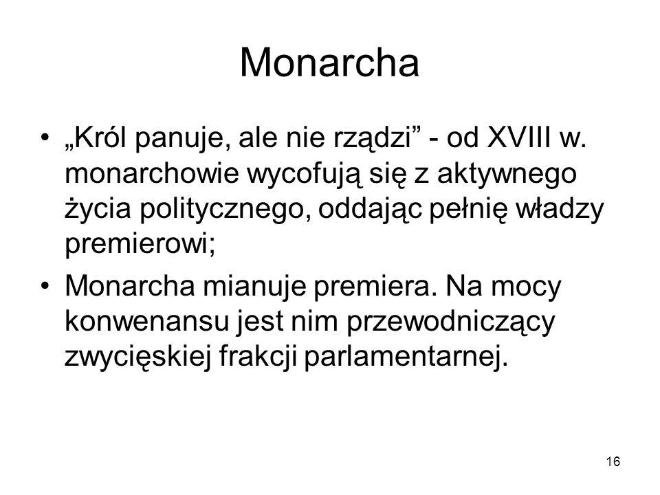 16 Monarcha Król panuje, ale nie rządzi - od XVIII w. monarchowie wycofują się z aktywnego życia politycznego, oddając pełnię władzy premierowi; Monar