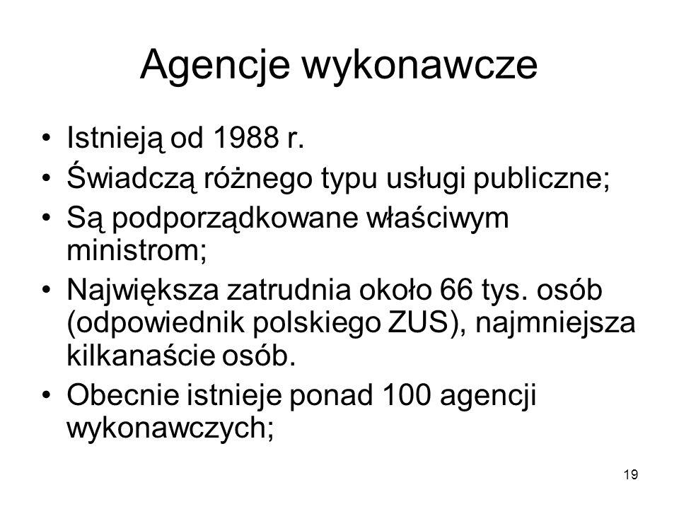 19 Agencje wykonawcze Istnieją od 1988 r. Świadczą różnego typu usługi publiczne; Są podporządkowane właściwym ministrom; Największa zatrudnia około 6