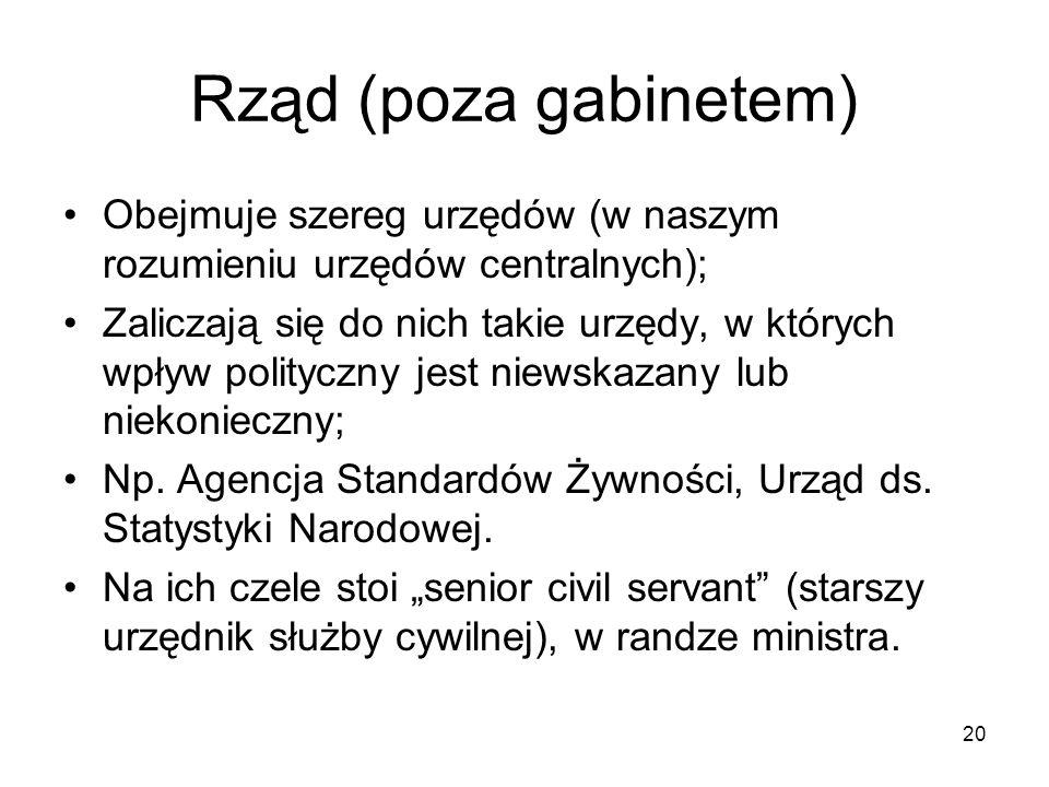 20 Rząd (poza gabinetem) Obejmuje szereg urzędów (w naszym rozumieniu urzędów centralnych); Zaliczają się do nich takie urzędy, w których wpływ polity