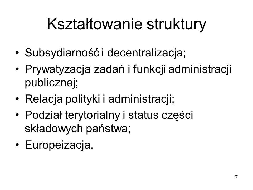 Kształtowanie struktury Subsydiarność i decentralizacja; Prywatyzacja zadań i funkcji administracji publicznej; Relacja polityki i administracji; Podz