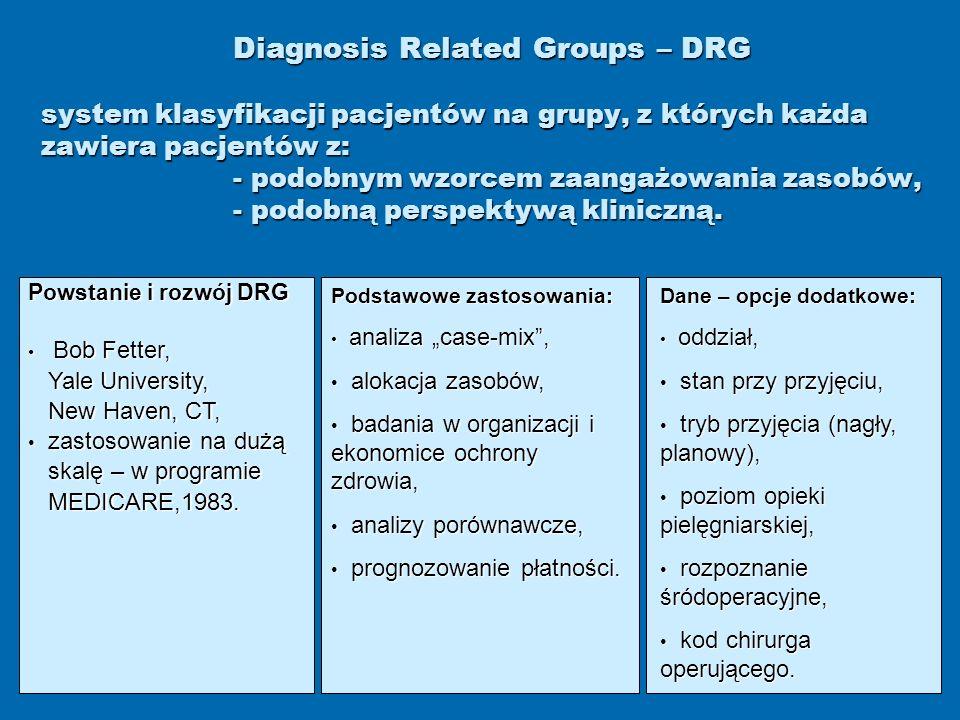 Diagnosis Related Groups – DRG system klasyfikacji pacjentów na grupy, z których każda zawiera pacjentów z: - podobnym wzorcem zaangażowania zasobów,