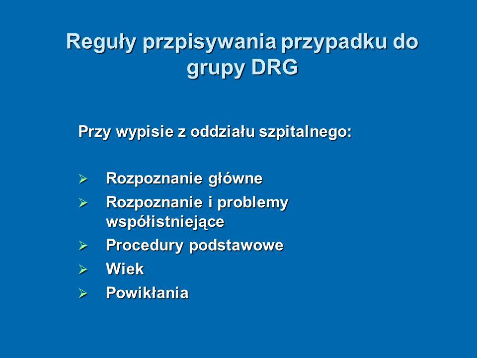 Reguły przpisywania przypadku do grupy DRG Przy wypisie z oddziału szpitalnego: Rozpoznanie główne Rozpoznanie główne Rozpoznanie i problemy współistn