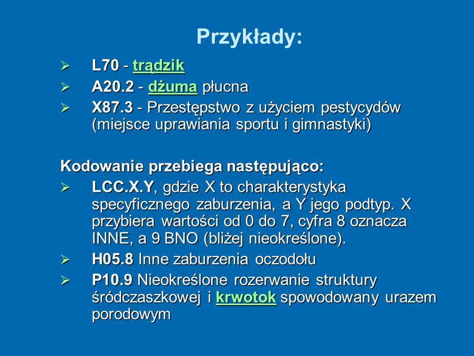 Przykłady: L70 - trądzik L70 - trądziktrądzik A20.2 - dżuma płucna A20.2 - dżuma płucnadżuma X87.3 - Przestępstwo z użyciem pestycydów (miejsce uprawi